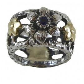 Anello Argento fiore con zaffiro e fiorellini oro 24kt – SilverBlack