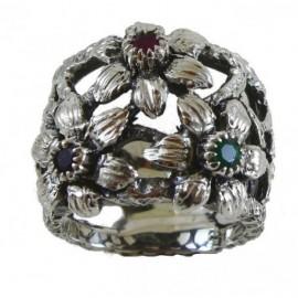 Anello Argento 3 fiori con zaffiro, rubino, smeraldo – SilverBlack