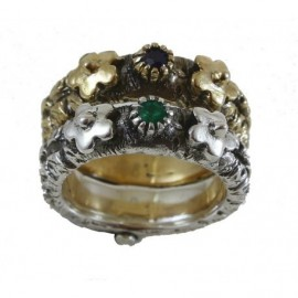 Doppia fedina (argento-bronzo) con rubino e smeraldo – SilverBlack
